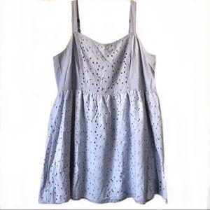 Forever 21 Mini Sleeveless Blue Eyelet Dress: 2X